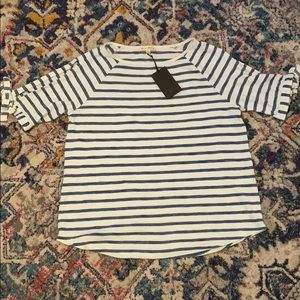 Blue and White Striped Split Sleeve Top